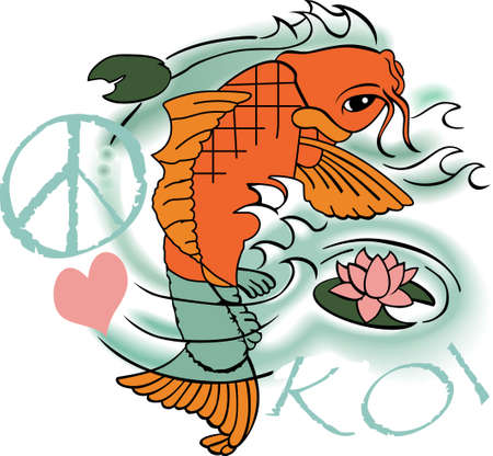 fishes: The koi is a symbol of a persons ability to have high expectations and for happiness.  This is a beautiful  design from Great Notions.