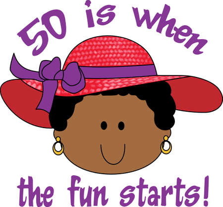 notions: Grandma has hattitude with her red hat society.  Its great to be 50 with this design from Great Notions. Illustration