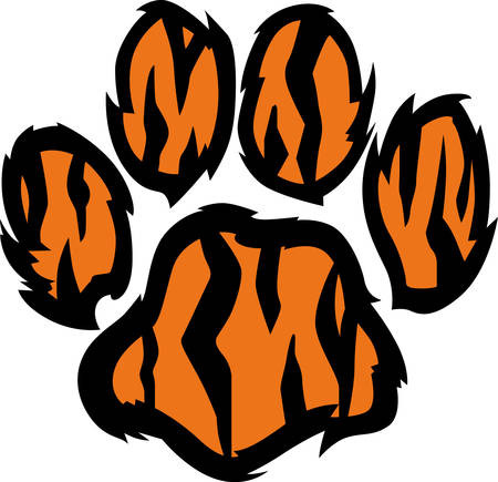 pawprint: Show your team spirit with this tiger paw logo.  Everyone will love it!