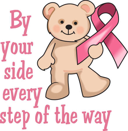 This is a cute bear with the breast cancer ribbon! Support someone you know and help find a cure for breast cancer.  Send hope and awareness to all! Stock Illustratie