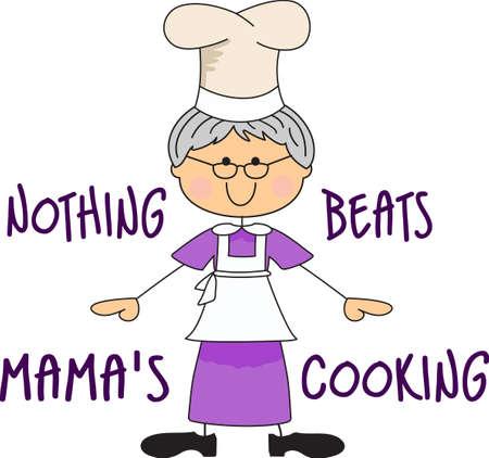 Großmütter machen die besten Köche. Informieren Sie sich, um weiter mit, ein großer Koch. Standard-Bild - 45057064