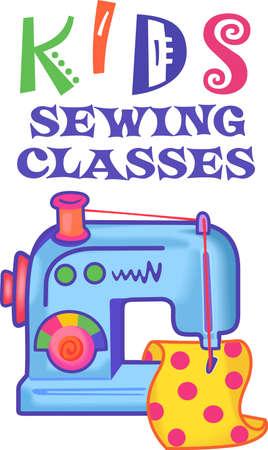I bambini amano imparare a cucire da mamma. Farli questa immagine carino per i loro articoli. Archivio Fotografico - 45057098