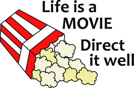 snack time: Family movie night needs popcorn.  Enjoy the movie better with this image from Great Notions. Illustration