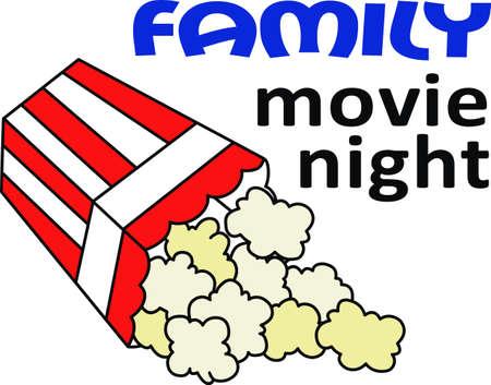가족 영화의 밤에는 팝콘이 필요합니다. 위대한 관념으로부터의이 이미지로 더 나은 영화를 즐기십시오. 일러스트