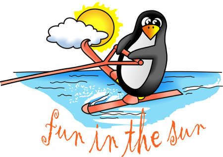 Welcome to the beach, surfers! Grab your board because Surf's Up! Illustration