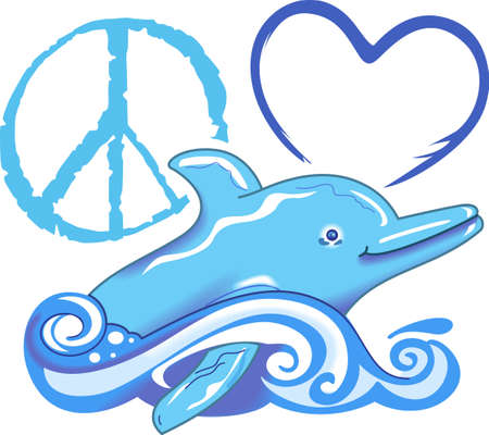 love is it: Send this cute dolphin to a child or child at heart.  They will love it! Illustration