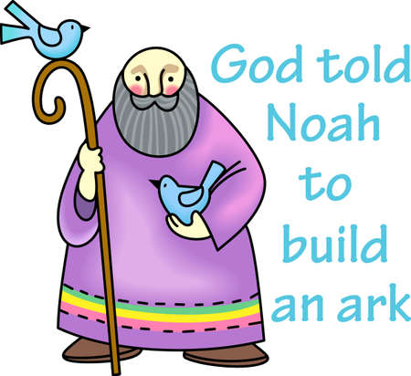 testament: God told Noah to build an ark.  This is a beautiful design for your Sunday School class. Illustration