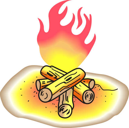 fire pit: Kids and kids at heart love to roast marshmallows over an open fire.  This is the life.  Add this to shirts to wear while camping.  Everyone will love it! Illustration