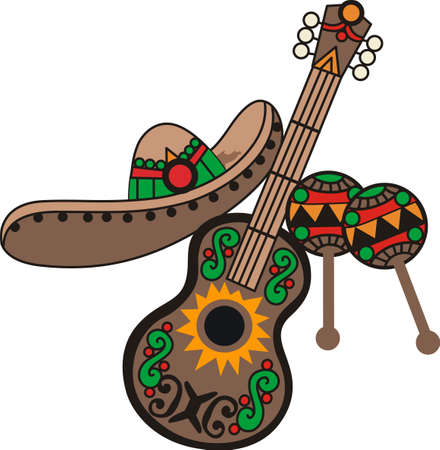 big hat: Everyone looks forward to the fiesta with music, laughter and fun.  Use this design on a shirt or hat to join in with the festivities.  Everyone will love it!
