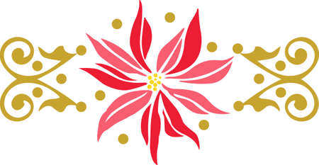 winter flower: Get into the holiday spirit with your Christmas decorating.  This poinsettia is perfect! Pick those designs by Great Notions.