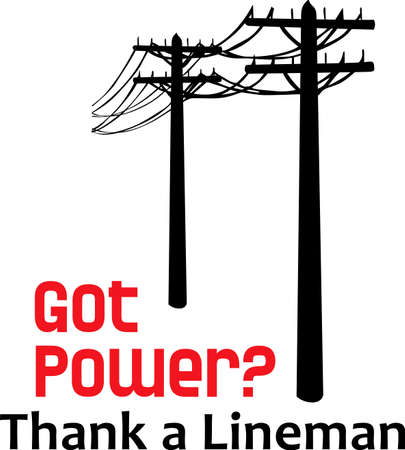 transmission line: Your lineman is always on call.  Use these designs on his shirt, he will appreciate showing everyone his job.  Get these designs from Great Notions.