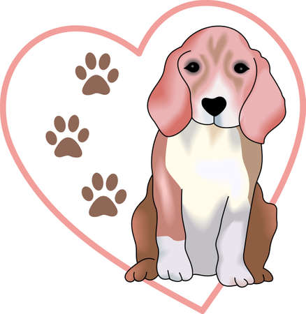 beagle puppy: My best friend is hard at work for me.  Show everyone how much your dog means to you.  They will love it! Illustration