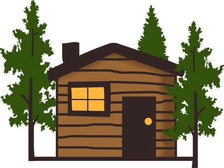 cabin: Remember the wonderful family vacation staying in a cabin in the woods all year round with this design from Great Notions. Illustration