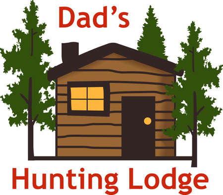 log cabin: Remember the wonderful family vacation staying in a cabin in the woods all year round with this design from Great Notions. Illustration
