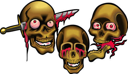 treating: These skulls are perfect for Halloween.  Add to your shirt for when you go trick or treating.  Get these designs from Great Notions.