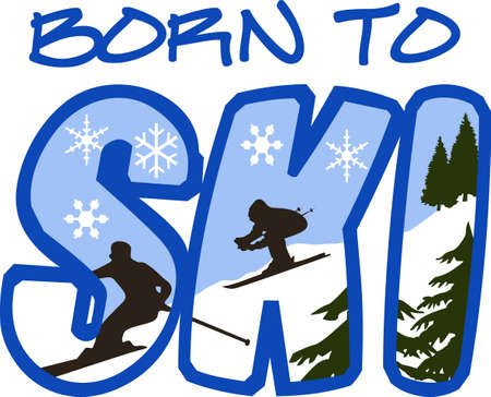 slalom: This is perfect to wear this winter design while enjoying playing or skiing.  Your family will love it! Illustration