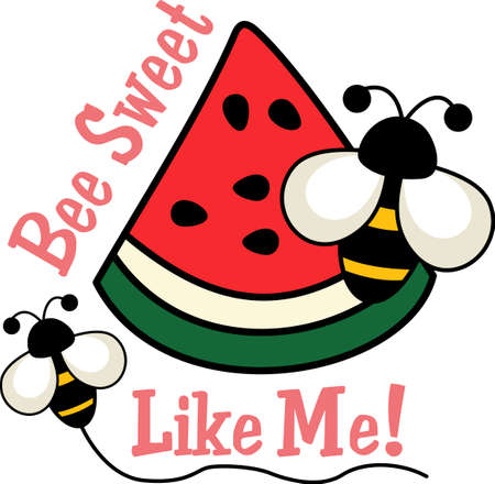 Be happy with the springtime with beautiful watermelon and bees.  A beautiful design by Great Notions! 向量圖像