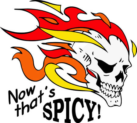 flaming: This skull is perfect for Halloween.  Add to your shirt for when you go trick or treating.  Get these designs from Great Notions.