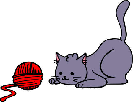 yarn: Kittens love to play with a ball of yarn.  Give this design to your favorite knitter.  She will love it! Illustration