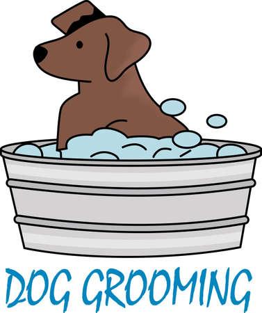 Wijzen de handdoek gebruikt voor de hond, zodat ze hier al kent komt het bad. Een leuk ontwerp van Great Notions. Stock Illustratie