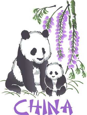 Sweet Panda Bears are so much fun to visit at the zoo.  Remember the event all year long with this design from Great Notions. Illustration