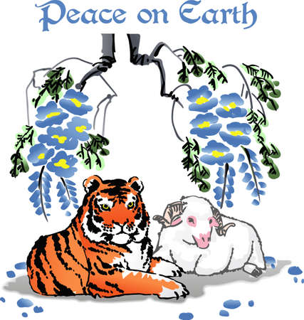 lay: The tiger will lay with the lamb is a beautiful design.  Get these designs from Great Notions.