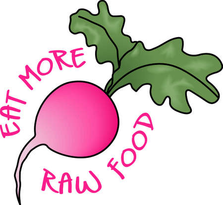 vegatables: Eat more raw food.  The radish is good for you.  Get these designs from Great Notions.