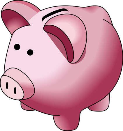 Een cent opgeslagen is een cent verdiend. De afbeelding schattig om te helpen om te leren kinderen om hun geld te besparen.