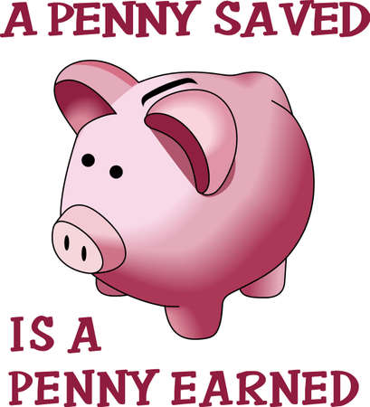A penny saved is a penny earned.  The cute image to help teach children to save their money. 向量圖像