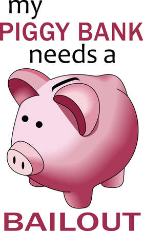 oink: A penny saved is a penny earned.  The cute image to help teach children to save their money. Illustration