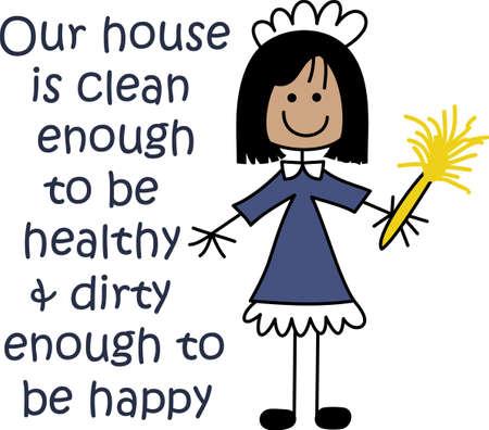 ama de llaves: Su anuncio perfecto para su negocio servicio de limpieza. Obtener estos dise�os de grandes conceptos. Vectores