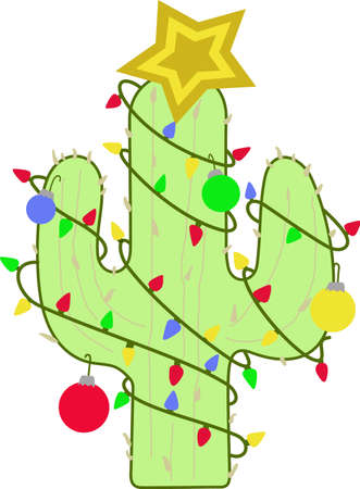 prickly pear: This cute cactus is a perfect design for Christmas.  Complete with lights, ornament and star on top.  Get these designs from Great Notions.