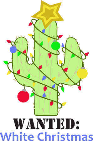 This cute cactus is a perfect design for Christmas.  Complete with lights, ornament and star on top.  Get these designs from Great Notions.