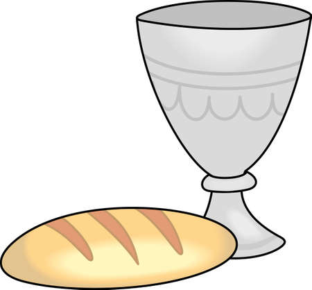 eucharist: The wine and bread as a symbol in Christianity. A perfect design by Great Notions.