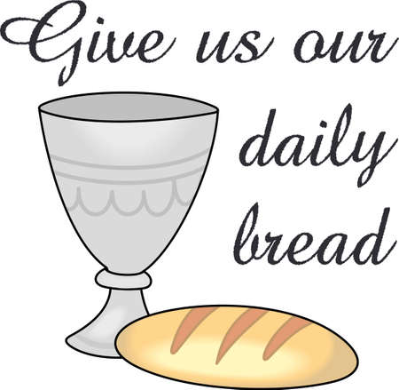 The wine and bread as a symbol in Christianity. A perfect design by Great Notions.