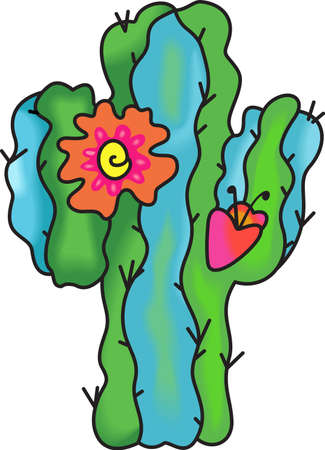 flowering cactus: This beautiful flowering cactus is perfect to add to your Southwest design.  Get these designs from Great Notions. Illustration