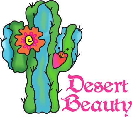 in bloom: This beautiful flowering cactus is perfect to add to your Southwest design.  Get these designs from Great Notions. Illustration