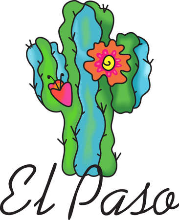 This beautiful flowering cactus is perfect to add to your Southwest design.  Get these designs from Great Notions. Ilustração