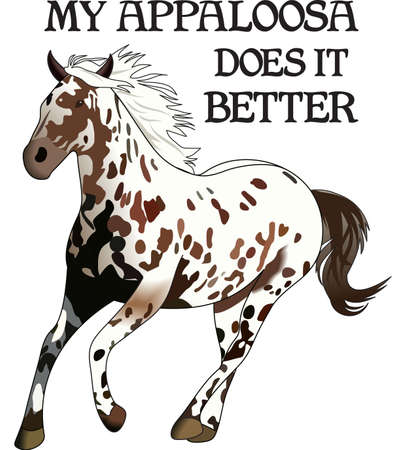 appaloosa: This graceful horse with the wind blowing its mane will be beautiful on a shirt, vest or jacket.  Illustration