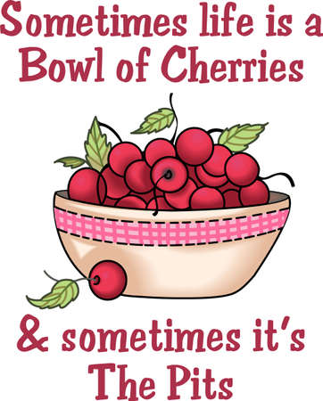 notions: A bowl of cherries design is perfect for your kitchen.  Get these designs from Great Notions. Illustration