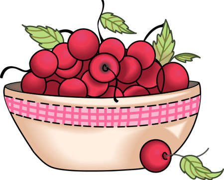 A bowl of cherries design is perfect for your kitchen.  Get these designs from Great Notions. Illustration