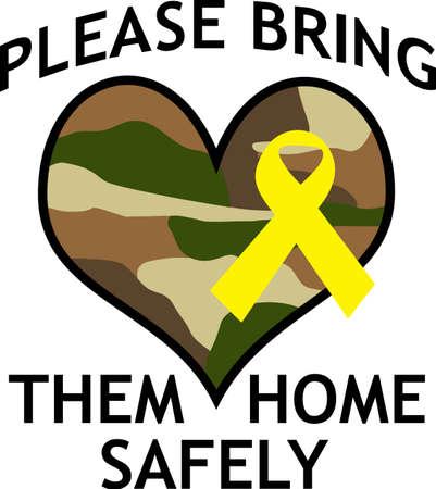Hágales saber que usted es orgulloso de su héroe. Mostrar el apoyo a nuestras tropas con este diseño especial. Foto de archivo - 45091188