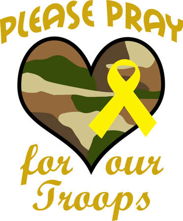 troops: Let them know you are proud of your hero.  Show support for our troops with this special design. Illustration