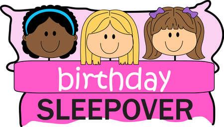 pijamada: Las niñas les encanta tener una fiesta de pijamas. Utilice este diseño para darle a su friends.se este diseño para dar a sus amigos.