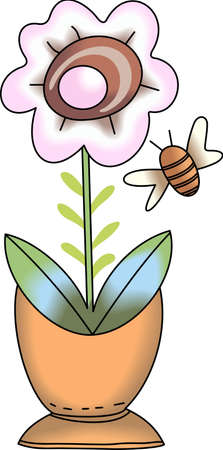 flowerpot: Be happy with the springtime with beautiful flowers and bees.