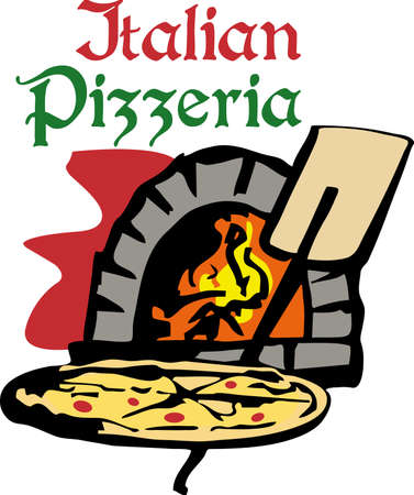 A brick oven is perfect to cook a homemade pizza.   Ilustrace