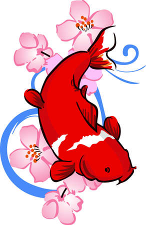 The koi is a symbol of a persons ability to have high expectations and for happiness. Ilustracja