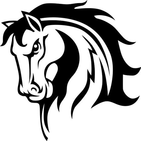bronco: This graceful horse with the wind blowing its mane will be beautiful on a shirt, vest or jacket.   Illustration