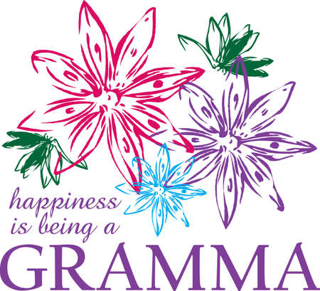 gramma: Happiness is being a gramma, a perfect design for Grandparents day.  Let them remember it all year. Illustration