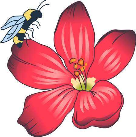 nectar: This beautiful bee shows a springtime design.   Illustration